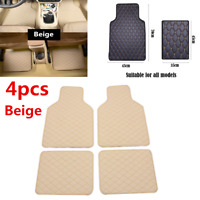 4pcs Beige Leather Car Floor Mats Floor Front Rear Liner Carpet Waterproof Mat
