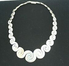 Vintage Sterling Silver Chunky Wave Necklace Taxaco Mexico - 70s