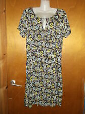 M&S Empire Line Scoop Neck Floral Print S/Sleeved Dress 12 Grey Mix BNWT