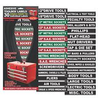 30 Pc Set Adhesive Tool Box Chest Labels Garage Mechanic Tools Storage Organizer