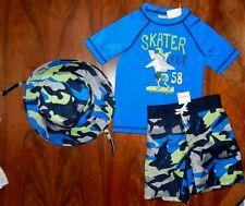 BoardShorts Outfit Gymboree 3pc Camo Blues Suncreen Swimwear Boy sz 2T New