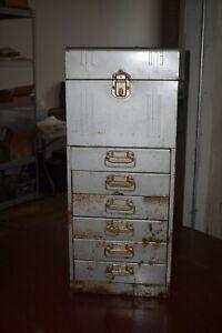 1940s ACORN ART DECO STEEL LOCKING FILE TOP 6 DRAWER UTILITY CABINET-STEAM PUNK