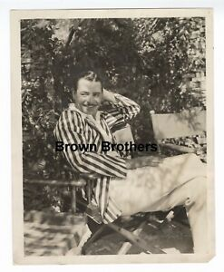 Vintage 1930s Hollywood Handsome John Gilbert Striped Jacket Candid Photo - BB