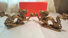 Two Bronze coloured Resin Chinese Dragon Ornaments New