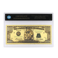 10000 Dollars in 1901 24k Gold Banknote with Protect Case for Collection
