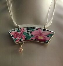 Broken China Pink Orchids Pendant Necklace from Fitz and Floyd Plate