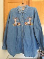 Just my Size Demin Fall Jean Blouse Long Sleeve Shirt Size 18W/20W
