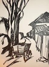 Vintage ink painting landscape cart signed