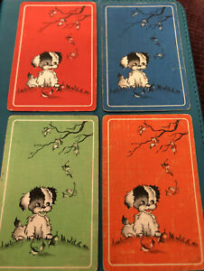 Swap playing cards - Genuine Vintage Set Of 4 Sweet Deco Puppy's Under Tree