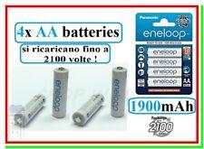 4 Eneloop Panasonic Pile Batterie Ricaricabili STILO AA 1900/2000mAh 2100 cicli