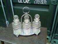 Art deco chrome Triple Tantalus Decanter Set Crystal Glass heavy quality....
