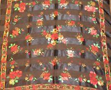 "Made in Korea Vintage Square Scarf Wrap 38"" Black Red Gold Floral Printed Sheer"
