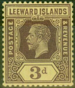 Leeward Islands 1913 3d White Back SG51a Fine Lightly Mtd Mint
