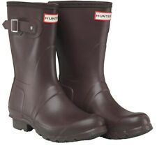 Hunter Women Original Short Wellington Boots Bitter Choc Size 4 New RRP £78