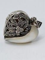 Women's Sterling Silver 925 Heart Charm / Pendant W/ Marcasite Stones #80407