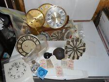 Antique Clock Parts Box Lot, Faces, Paper Faces, Waltham Springs, Fancy Pendulum