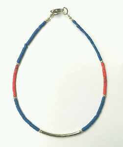 "Afghan Natural Lapis Lazuli with Coral Tiny Seed Beads Anklet 9.25"" Jewelry"