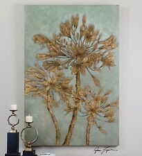 """HUGE 72"""" RICH HAND PAINTED CANVAS TUSCAN FLOWERS LEAF PAINTING WALL ART MODERN"""