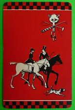 Fox Hunt Horses Trotting Riders Dog Running - Vintage Art Deco Swap Playing Card