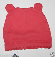 baby Gap NWT Girl's 3 6 Mo. Coral Pink 100% Cotton Knit Hat w Bear Ears & Lace