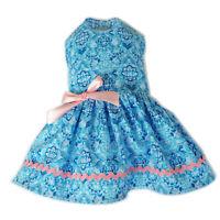 Blue Pink Dog Dress Little Dog Clothes Small Dog Apparel Size M S XS XXS XXXS