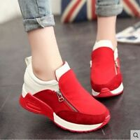 Women's Sneakers Breathable Casual Platform Heels Running Side Zip Shoes Zsell
