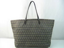US seller Authentic FENDI ZUCCA LEATHER TOTE BAG PURSE good usable large