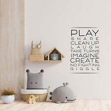 Clean Up Laugh Quote Playroom Kids Vinyl Art Sticker For Playhouse Wall Decals