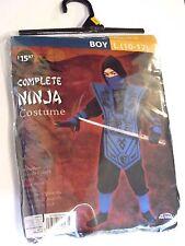 Boy size 10-12 L  Black & Blue Ninja Fighter Halloween Costume Decoration