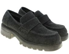 Nine West Cloud 9 Shoes Womens Dark Gray Faux Suede Loafers Chunky Heels sz 6 M