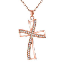 Rose Gold Halskette/Anhänger Schmuck Kreuz Amulett Kristall Collier AAA Zirkonia