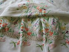 Vintage Hand Embroidered Linen Tablecloth-EXCEPTIONAL NEEDLE WORK THROUGHOUT
