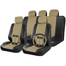 Faux Leather Car Seat Covers Black / Beige Tan 17pc Full Set w/Steering Wheel