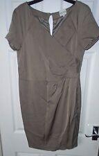 REISS Taupe Brown V Neck Short Sleeve Viva Wrap Style Dress Size 14