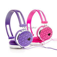 2x Over-Ear Love Hearts Girls Kids Childs Headphones iPod MP3 PC - Purple + Pink