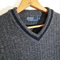 Vtg 90s POLO Ralph Lauren Waffle Knit Wool Sweater Varsity V Neck Gray Fleck M