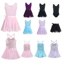 Kids Girls Sequin Ballet Dance Tutu Dress Leotard Gymnastics Ballerina Dancewear