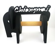 black carved wooden toilet paper roll holder elephant shape, Chiang Mai,Thailand