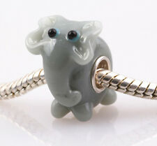 1pcs SILVER MURANO GLASS BEAD LAMPWORK Animal European Charm Bracelet DW36