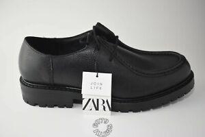 BNWB Zara Mens Black Leather Derby Shoes