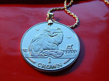 "1995 Turkish Angora Cat Coin Pendant on a 20"" Italian .925 Sterling Rope Chain."