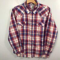 Women's Wrangler Pearl Snap Shirt Sz XL Red White Blue Plaid