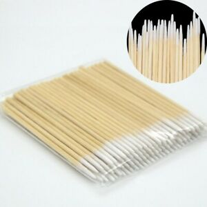 "100pcs Cotton Swabs Swab Q-tips 3"" Long Wood Wooden Handle Cleaning Applicators"