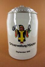 wunderschöner alter Bierkrug Bierhumpen 0,5l  Ortsverwaltung München 1956