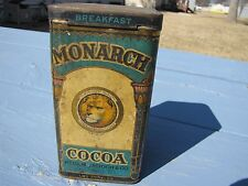 VINTAGE 1920'S MONARCH COCOA ADVERTISING TIN LITHO W/ HINGED LID KITCHEN DECO