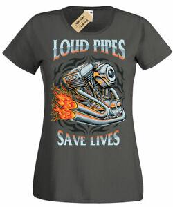 Loud Pipes Save Lives T-Shirt biker rider motorbike Womens Ladies