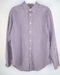 Boys POLO RALPH LAUREN purple ivory long sleeve dress shirt LARGE 10 12 oxford