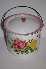 Vintage Berry, Lunch Bucket Floral Enamel with Lid and Bale Handle