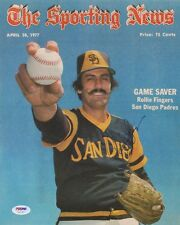 PSA COA Rollie Fingers Autograph 10x12 Cover Sporting News Padres Sign Autograph