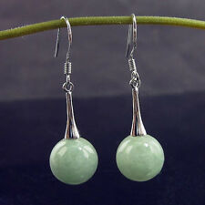 925 Sterling Silver Hook Dangle Earrings 10mm Natural Light Green Jadeite Jade